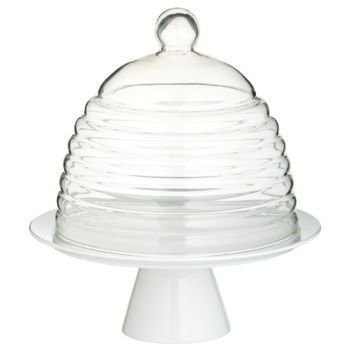 Kitchen Craft - Patera porcelanowa z kloszem GLASS DOME - 25 cm